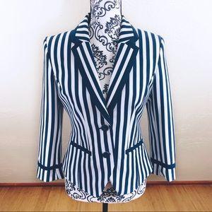 H&M Navy Blue And White Striped Blazer Sz 10